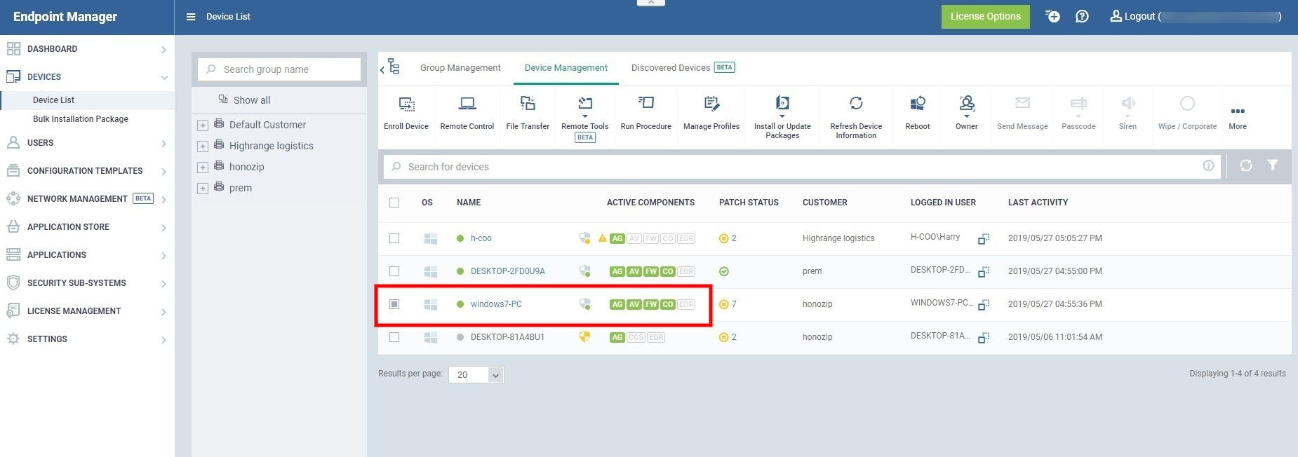 How to deploy a Comodo EDR agent from the Endpoint Manager